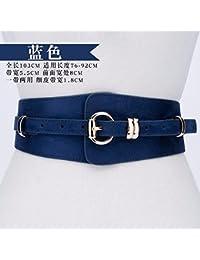 QIER-YD Faja de moda estilo nuevo faja de gamuza decorativa hebilla ancha versión de la correa de las señoras con cinturón de vestir Azul