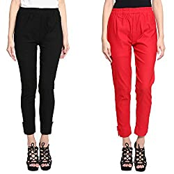 Broadstar Black & Red Lam Lam Solid Palazzo Pant For Women- Pack Of 2