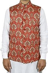 LaRainbow Mens Printed Bandhgala Modi Jacket-Red (44)