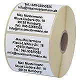 INDIGOS UG® Namensaufkleber - Adressetiketten - 40x22 mm - 100 Stück - weiß mit schwarz bedruckt - Haftpapier - Wunschdruck individuell personalisiert