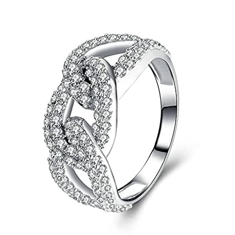 AMDXD Jewelry Sterling Silver Women Promise Customizable Rings Twist Hollow CZ Size K 1/2,Engraving