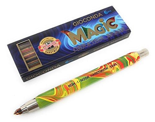 tift/Druckbleistift aus Metall mit Minenspitzer Minenstärke 5.6mm - Magic (bunt) - Regenbogen-Stift - mit 6er Multicolor Minen (Multi-color-stifte)