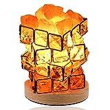 Lampada Di Sale Di Cristallo Dell'Himalaya, 100% Naturale Roccia Di Cristallo Rosa Himalayano, Interruttore Dimmer Da Comodino, Camera Da Letto, Studio, Sauna, Yoga, 12cm * 12cm * 14cm.,Orange-12cm*12cm*14cm