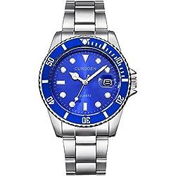 JiaMeng Reloj de Cuarzo para Hombres, Reloj analógico de Cuarzo del Deporte de la Fecha del Acero Inoxidable Militar de la Manera(Azul)