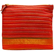Clean Planet Women's Eco-Friendly Handcrafted Reusable Washable Cotton Ethnic Traditional Multipurpose Pouch Clutch with Zip for Marriage, Party, Casual, Function (Red)