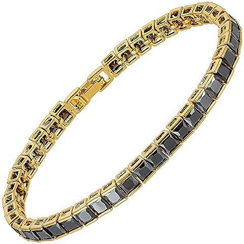 Regalos de Navidad Riva nuevo 18K chapado en oro de lujo Amarillo Negro Onyx plaza de Diseño Dainty tenis Pulsera