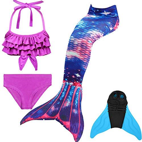 GNFUN Mädchen Meerjungfrauenschwanz Zum Schwimmen mit Meerjungfrau Flosse- Prinzessin Cosplay Bademode für das Schwimmen mit Bikini Set und Monoflosse, 4 Stück Set, Blaue Sterne, 140-150cm