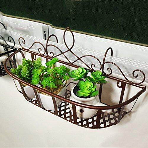 Li jing home porta fiori/portapacchi ringhiera da balcone in ferro battuto portapanni da fioriera ripiano da parete per interni appendiabiti da interno/esterno (color : bronze, size : 60x21x27cm)