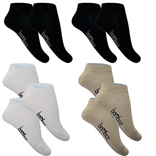 Sneaker Socken Damen Herren Bambus Schwarz Weiß Bunt Farbig Quarter Lang 5-10 P. 35-38 39-42 43-46 47-50 Baumwolle Jungen Mädchen atmungsaktiv von SGS (35-38, 10 x Farbig (4 x Schwarz + 3 x Weiß + 3 x Beige))