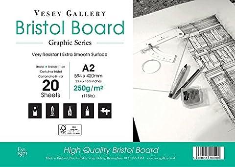 A2Bristol Pad. 20feuilles de carton 250g/m² lisse de haute Blanc. par Vesey Gallery fabriquée au Royaume-Uni