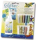Bringmann folia 579 - Glitter-Set, 10 Dosen Dekomaterial, 1 Deko-Kleber 90 g