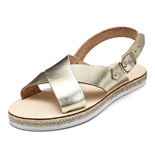 SCHMICK Espadrillas Sandali 'Athene' Donna Sandali alla schiava Scarpe estive in vera pelle look metallico, Schuhgr÷?e:37 EU;Farbe:gold
