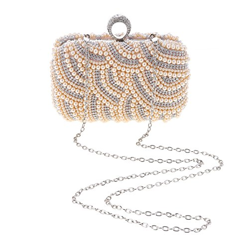 Damara® Damen Party Edle Kette Künstlicher Perle Hochzeit Exquiste Abendtasche Beige