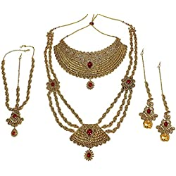 MUCH MORE Work Red Color Punjabi Wedding Bridal Set Women