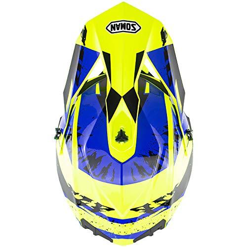 MMGIRLS Casco da Mountain Bike Casco da Cross Down ATV Protezione da Sport Outdoor Casco Integrale Casco da Moto Certificazione ECE - Blu Fluorescente Giallo,XL