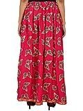PinkRayon Staple Gold Printed Straight Skirt for women (free Size) Waistband: Elastic