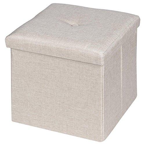 IDIMEX Sitzwürfel Sitzhocker Hocker Truhe Aufbewahrungsbox Renata, Leinenoptik in beige, faltbar mit Deckel