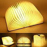 Yuanj Mini Legno Lampada Libro, USB Ricaricabile Pieghevole LED Luce del Libro per Decorativo/scrivania/Tavolo, batterie al Litio 880mAh - Luce Calda
