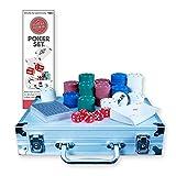 Global Gizmos Malette de Poker Dés/jetons/cartes Dans un étui en aluminium (200pièces)