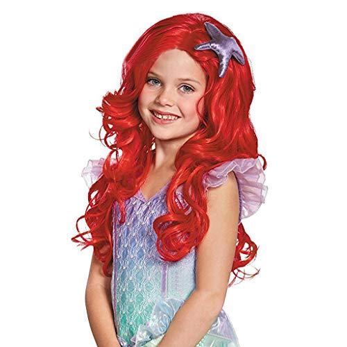 GWM Mädchen Perücke, Mode Rot Lange Rolle Rolle Spielen Meerjungfrau Hochwertige Perücke Geeignet Für Ausgehen