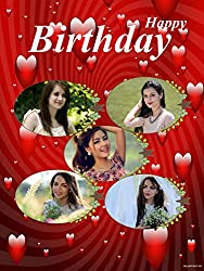Personalized HAPPY BIRTHDAY Collage Photo Greeting Card - Red Heart Theme(6 x 8) - 2 Pcs
