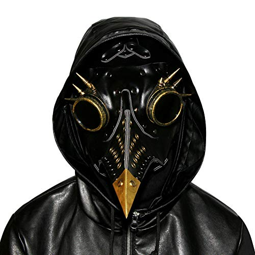 (Steampunk Pest Doktor Bird Maske Lange Nase Schnabel Cosplay Punk Halloween Kostüm Requisiten Phantom der Oper Vintage Black Gold Mechanische Männer Venezianische Maske)