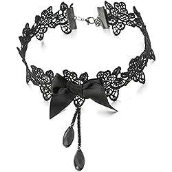 COOLSTEELANDBEYOND Gótico Victoriano Nostálgico Negro Encaje Collar de Gargantilla Lazo Choker Collar Mujer, Negro Cadena Perla Colgante