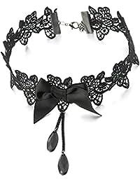 2ab1b763c056 COOLSTEELANDBEYOND Gótico Victoriano Nostálgico Negro Encaje Collar de  Gargantilla Lazo Choker Collar Mujer