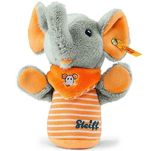 Steiff 240294 - Trampili Elefant Knister Greifling 14, grau/orange