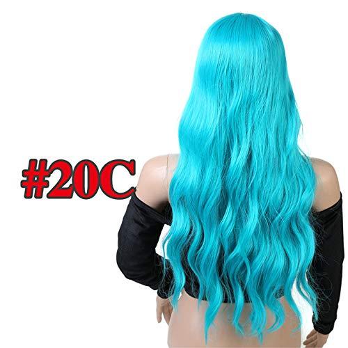 YHSY Gewelltes Haar Langen Stil mit Frauen hitzebeständige synthetische Perücke 26 Zoll grün -