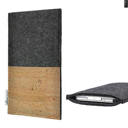 flat.design Handytasche Evora mit Korkfach für Ruggear RG850 - Schutz Case Etui Filz Made in Germany in hellgrau mit Korkstoff - passgenaue Handy Hülle für Ruggear RG850