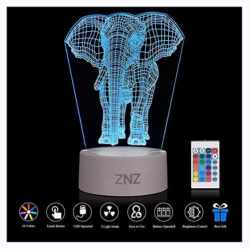 Lámpara LED de luz nocturna 3D - ZNZ 16 colore con luz nocturna regulable con interruptor táctil para niños, lámpara de escritorio Illusions de luce para decoración de habitacione - Elefante