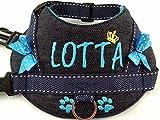 Hundegeschirr S M L XL XXL Brustgeschirr mit Wunsch Namen bestickt Jeans Marine/blau