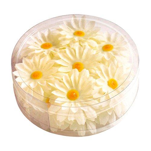 ten Margeritenblüten 20 Stk. 70er Jahre Blumen Tisch Dekoration Gänseblümchen Tischdeko Tischdekoration Margeritenblumen Hippie Partydeko Sommer Party Flower Power Mottoparty ()
