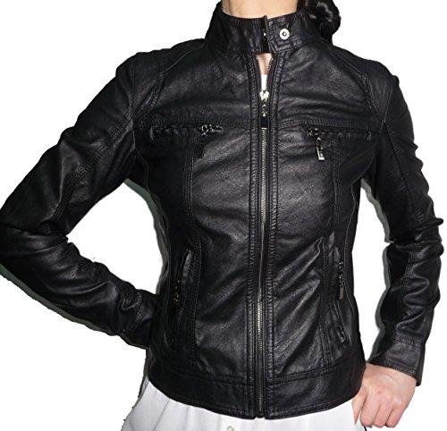 Chiodo giacca giacchetto giubbino giubbotto finta pelle ecopelle corto slim avvitato aderente skin donna ragazza (xxl 48 it donna)