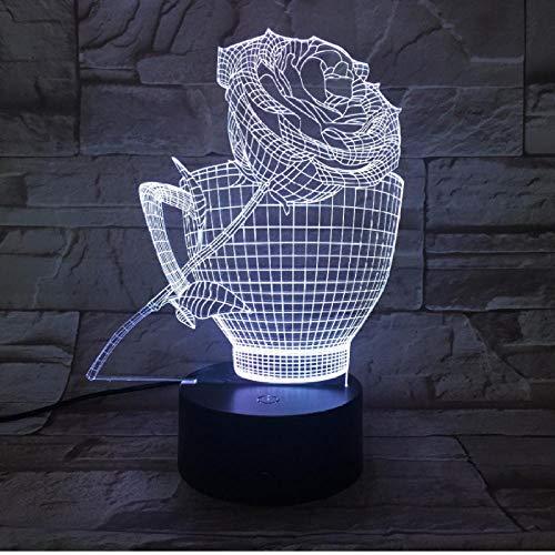 Kinderbeleuchtung Rosen Tasse 3D Nachtlicht Led 7 Farbwechsel Romantische Usb Tischlampe Acryl Atmosphäre Lampe Für Home Party Holiday Decor