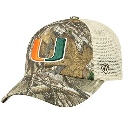 Top of the World NCAA Miami Hurricanes Men's Camo Stock Adjustable Mesh Icon Hat, Real Tree (Hurricanes Miami Hat)