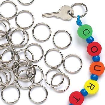 Baker Ross Lot de 100 Anneaux Métal pour Clef - Idéal pour confection de Porte clefs et pampilles