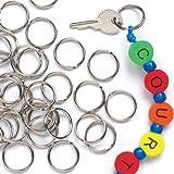 Schlüsselringe aus Metall zum Basteln von Schlüsselanhängern und Taschenanhängern für Kinder - 100 Stück