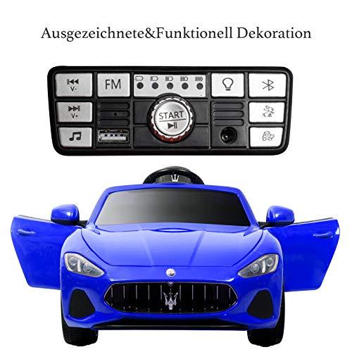 RC Auto kaufen Kinderauto Bild 5: UEnjoy 12V Kinderauto Maserati Grancabrio Elektronik Kinderauto Fahrt auf Auto mit Fernbedienung, Federung, MP3-Player, Beleuchtung, Blau*