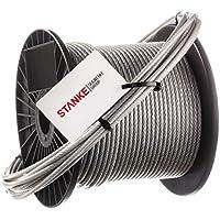 Seilwerk STANKE Cuerda de Acero Inoxidable en la Capa de PVC 4 mm Cuerda de Acero Inox V4A A4 Cuerda Acero Noble