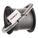 Seilwerk STANKE 30 m Câble en Acier Inoxydable en PVC 4 mm 7x7 Cordage en Acier Inoxydable INOX V4A A4