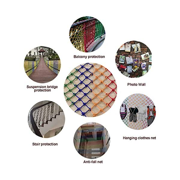 HUANPIN Child Safety Net Family Balcony Railing Stairs Anti-Falling Baby Fence Net Children Playground Guardrail Kids Safety Netting Dia 10mm8cm,4×5m HUANPIN ★Handmade: High quality safety net , Hand braided Traditional structure ★Mesh Size*Rope Diameter: 8cm*10mm Length*width: please perchase as your needs. We have any other size ( rope diameter, mesh, length * width) rope net, support customization. If you have any needs, please contact us. ★ Multi-function protection net: balcony family and railing stairs balcony security loft bed protection stair railing cat climbing ladder, anti-fall and other strengthening protection; wall, house, hotel theme party, board, cafe, bookstore, restaurant, decoration, hanging and so on. 4