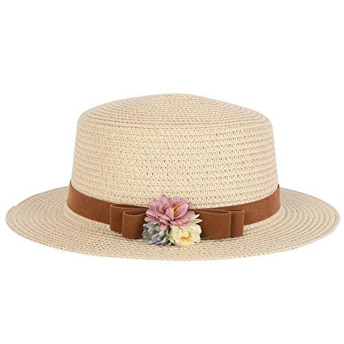 fairlove Boho Sommer Frauen Lady Breite Krempe Beach Cap Trilby Fedora Stroh Bucket Schleife Sun Hat, damen, Style (Undertaker Hat)