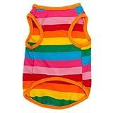 sztara Rainbow Stripe Pet Weste atmungsaktiv Sommer Baumwolle ärmelloses T-Shirt Hund Katze Kleidung
