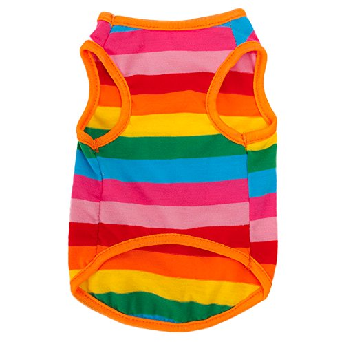 SZTARA Rainbow Stripe Pet Vest Breathable Summer Cotton Sleeveless T-Shirt Dog Cat Clothes