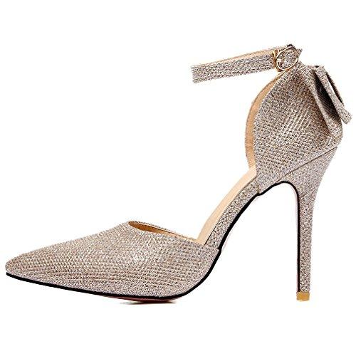 YE Damen Spitze Ankle Strap High Heels Stiletto Glitzer Pumps Schleife mit 10cm Absatz Party Elegant Hochzeit Schuhe Gold