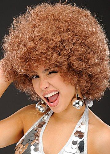 Womens 1970er Jahre braune Mega Afro Perücke