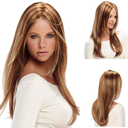 Urparcel Cheveux longue Lisse Perruque Longue synthétique Perruque Naturel Pour Femme Vie quotidienne Brun 308.
