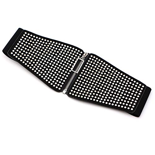 Cinturón Ancho de Piel elástica para Mujer Cinturón de cincha Estilo Punk Recortador Elástico de Cintura con Cremallera Relojes (Color : Negro, tamaño : Free Size)